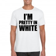 Bellatio Decorations I am pretty in white tekst t-shirt wit heren