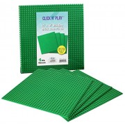 "Click N' Play Green Building Brick Baseplates - 10"" x 10"" - (Pack of 4) Tight Fit-Lego Compatible"