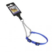 Hundhalsband stryp, justerbart av nylon, blått, 10mm x 20-35cm