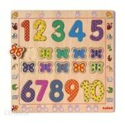 Drewniana układanka motyle, cyfry, kolory na planszy dla dziecka DJECO DJ01801