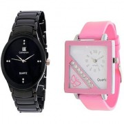 IIK Collction Black and Golry Square in Diamond Pink Analog couple Watches for Women