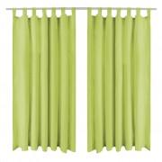 vidaXL 2 db zöld mikro szatén függöny hurkokkal 140 x 225 cm