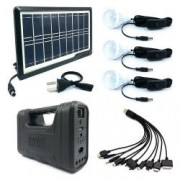 Sistem iluminat Interior Panou Solar 6 LED + 3 Becuri SMD / Portabil / 15 h