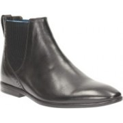 Clarks Bampton Top Black Leather Slip On For Men(Black)