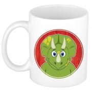 Bellatio Decorations Ontbijtbeker dinosaurier print groen / wit voor kinderen 300 ml