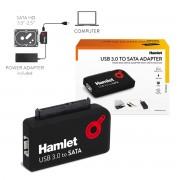 Hamlet Adattatore USB 3.0 a SATA per Serial ATA Hard Disk SDD Masterizzatori Lettori 5Gbps Nero