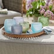 LOBERON Windlichten set van 6 Idony / turquoise/groen/grijs