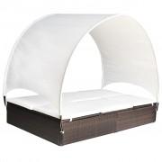 vidaXL Шезлонг-легло с балдахин, полиратан, кафяв, 194x120,5x30/156 см