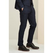 Mens Next Slim Fit Check Suit: Trouser - Blue Trousers