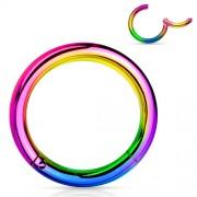 Smiley piercing titanium ring regenboog kleur 10mm
