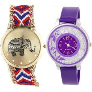 Neutron Brand New Quartz Elephant And Flower Analogue Multi Color And Purple Color Girls And Women Watch - G158-G89 (Combo Of 2 )