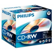 CD-RW 700MB-80min Jewelcase, 4-10x, PHILIPS