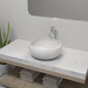 vidaXL kerek fehér fürdőszobai kerámia mosdókagyló keverőcsappal