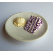 Lilac Cake Slice With Ice Cream On Dish Dessert Treat Perfect For 18 Inch American Girl Dolls