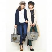 &LOVE アニマルハートのグレンチェックトートバッグ【QVC】40代・50代レディースファッション