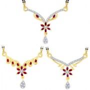 Sukkhi Stylish Gold Plated CZ Set of 3 Mangalsutra Combo For Women