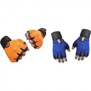 CP Bigbasket Pack of two (2) Netted with Wrist Support Gym Fitness Gloves (Free Size) Orange-blue