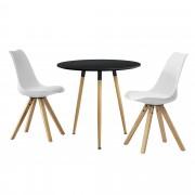 PremiumXL - [en.casa] Okrugli blagovaonski stol (crni) - sa 3 stolice (bijela)