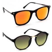 TheWhoop Round Sunglasses(Orange, Green)