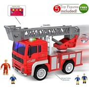 Toy Fire Truck with Lights and Sounds - Extendable Ladder -Powerful Friction Wheels - Mini Firetruck Toy for Toddlers and young Kids- BONUS: 5 Fireman and Toy Figures