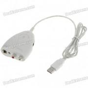 cable de enlace de interfaz de guitarra a USB para grabacion de pc / mac - blanco (115CM)