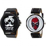 Gen Z GENZ-CO-JAT-DEADP-0001 Trendy Graphic Leather Strap Jat Deadpool Combo of 2 watches for Men