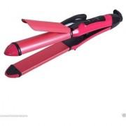 Branded 2 in 1 Hair Curler and Hair Straightener (NHC- 2009)-Pink In Best Price