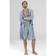 BlackSpade Удобный мужской халат из хлопка в тонкую голубую полоску BlackSpade b7349 blue striped