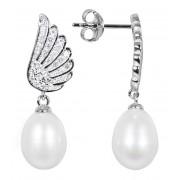 JwL Luxury Pearls Perlové náušnice s bílou pravou perlou a zirkony JL0534
