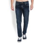 John Wills Men's Dark Blue Cotton Stretchable Mid-Rise Slim Fit Jeans