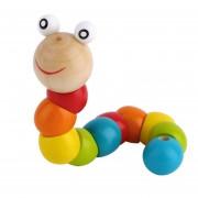 ER Madera Gusano Chueco Wiggly Multicolor Sensorial De Madera Del Grano De Juguete De Desarrollo