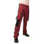 pantalon BLACK PISTOL - Punk Pants Tartan Rouge-Vert - B-1-01-060-04