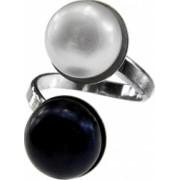 Inel argint reglabil cu perle naturale GlamBazaar Reglabila cu Perle Alb Negru tip inel reglabil de argint 925 cu pietre naturale