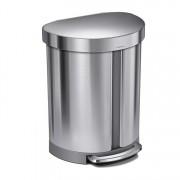 Cos de gunoi dublu compartimentat cu pedala, SimpleHuman, 55 L, CW2060, inox, Argintiu