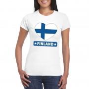 Shoppartners Finse vlag in hartje shirt wit dames