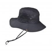 verano secado rápido ala ancha protección solar playa transpirable malla forrado plegable al aire libre gorra de pesca con mentón correa Sombrero LANG(#Negro)