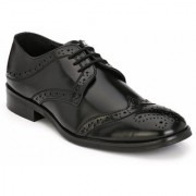 Hirel's Black Derby Brogue Cap Toe Synthetic Leather Formal Shoes