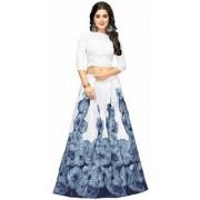 Latest New Designer Grey Color Banglori Silk Satin Semi Stitched printed Lehenga Choli By Omstar Fashion (RoseGrey)