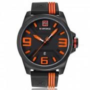 NAVIFORCE 9098 Reloj de pulsera de cuarzo militar militar para hombre - Negro + Naranja (Sin caja de regalo)