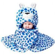 Brandonn Newborn Baby Blanket - CHEETAH CUB Ultrasoft Premium Quality Hooded Blanket Cum wrap For Babies(Blue-White- Cheetah Cub Pack Of 1)