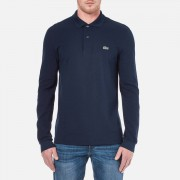 Lacoste Men's Basic Pique Long Sleeve Polo Shirt - Navy - 6/XL - Blue
