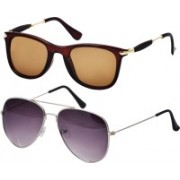 Freny Exim Aviator Sunglasses(Brown, Violet)