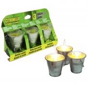 Merkloos Set van 6x citronella anti muggen kaarsen in een emmertje