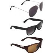 Zyaden Aviator, Wayfarer, Wrap-around Sunglasses(Black, Black, Brown)