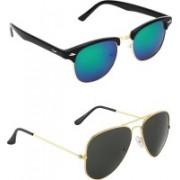 Zyaden Clubmaster, Aviator Sunglasses(Multicolor, Black)