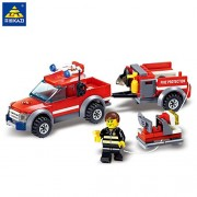 Generic Kazi 8055 Firefighting Building Blocks Fire Truck City DIY Fire Trucks Model Series Toys for Children Learning Assembled Toy