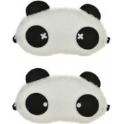 Jonty Round Cross Panda Travel Sleep Cover Blindfold (Pack of 2) Eye Shade(Multicolor)
