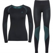 Odlo Langarmshirt, Funktionsshirt Odlo Damen Funktionsshirt Set long Essentials schwarz/blue r blau
