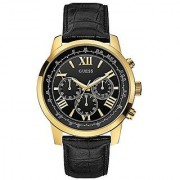 GUESS Black Leather Round Dial Quartz Watch For Men (W0380G7)