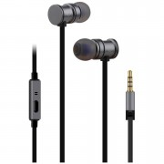 AV: Link Metallic Magnetic Stereo Noise Cancelling Earphones with Tangle Free Cable - Metallic Grey